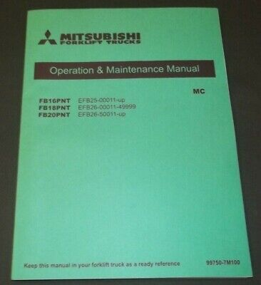 Mitsubishi Fb16pnt Fb18pnt Fb20pnt Forklift Operation Maintenance Book Manual