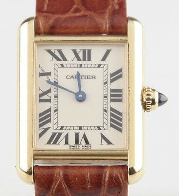 Vintage Cartier 18k Yellow Gold Tank Quartz Watch 2442 w/ Leather Band