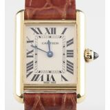Vintage Cartier 18k Yellow Gold Tank Quartz Watch 2442 w/ Leather Band