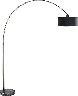 """81"""" Floor Arch Lamp with Marble Base & Linen Shade In Brushed Nickel Finish"""