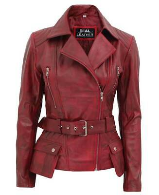 Victoria Womens Burgundy Motorcycle Leather Jacket - Best Selling