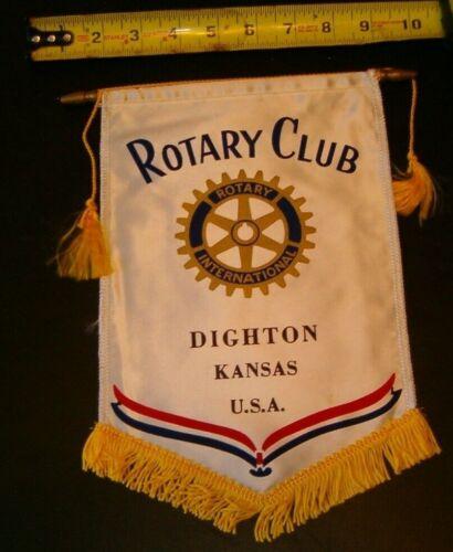 VINTAGE Rotary International Club wall banner flag DIGHTON KANSAS