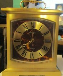HOWARD MILLER BRASS MANTLE CLOCK  4 1/2 WIDE X 6 TALL WITH ALARM QUARTZ
