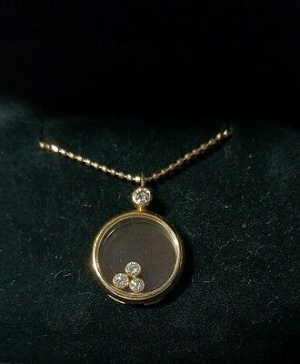 Chopard Happy Diamond Coll. Floating Round 18K yellow gold necklace & 14K chain