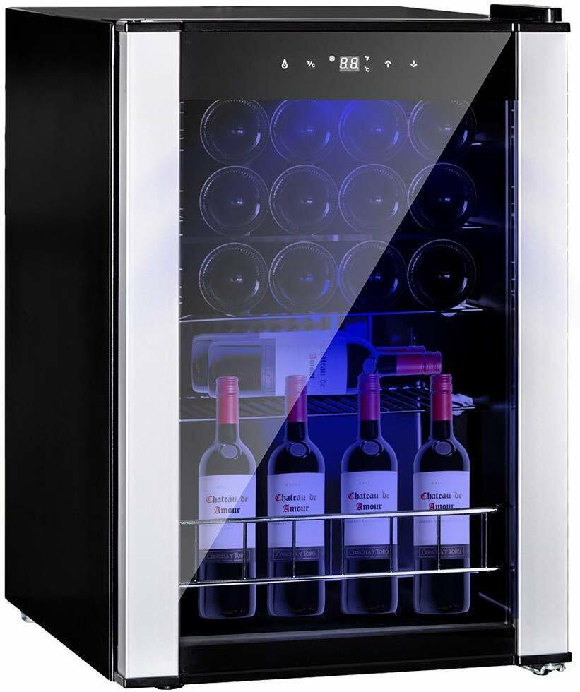 SMAD 19 Bottles Drinks Wine Fridge Glass Door Compact Bevera