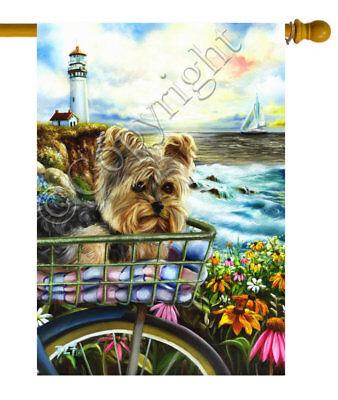 - Large YORKIE house FLAG Yorkshire Terrier flag LIGHT HOUSE Dog ART painting