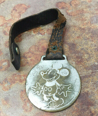 Vintage 1930's Ingersoll Mickey Mouse Character Pocket Watch Fob - Disney