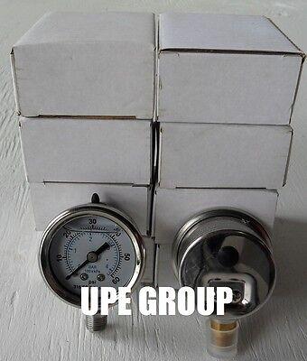 10 Pack Liquid Filled Pressure Gauge Hydraulic 1.5 Dial 60 Psi Lower Mnt 18
