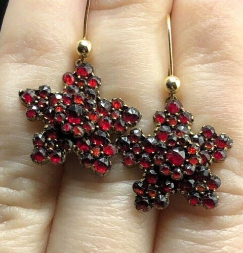 """Antique bohemian garnet earrings """"Scarlett snowflakes"""""""