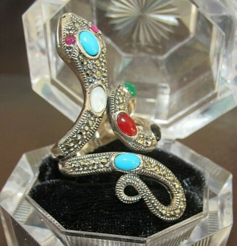 LARGE 925 STERLING SILVER AGATE MARCASITE SNAKE REPTILE RING WICCA GOTHIC PAGAN