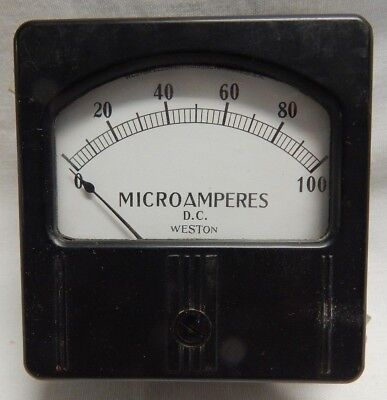 Vintage Panel Gauge Dc Microamperes 0-100 The Weston Electrical Corp Amps 731