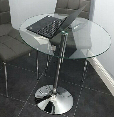 Small Round Glass Dining Table Breakfast Bar Kitchen Living Room Furniture Metal