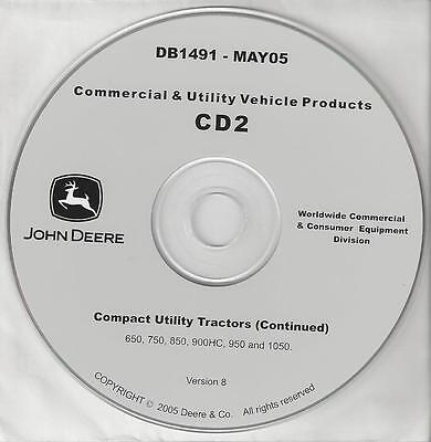 John Deere Compact Utility Tractor 650 750 850 950 1050 900hc Tech Manuals On Cd