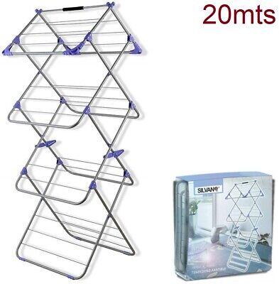 Tendedero de ropa plegable 20mts vertical 4 niveles perchas colgar XXL