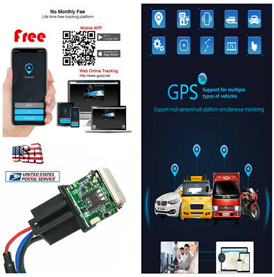 Car Relay GPS Tracker Real-time GSM Locator Remote Control Anti-theft Monitoring