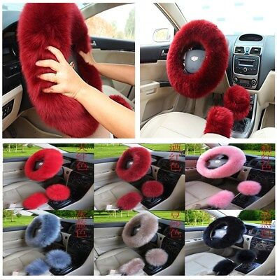 (3pcs/Set Fluffy Wool Fur Car Steering Wheel Cover Gear Knob Parking Brake Cover)