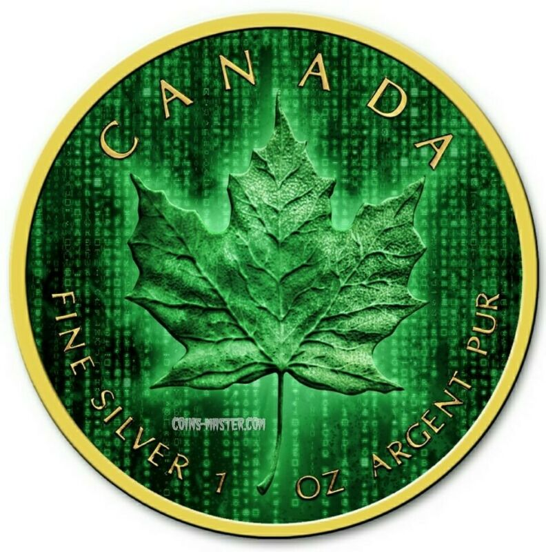 2019 1 Oz Silver $5 Canadian DIGITAL RAIN MATRIX MAPLE Coin WITH 24K GOLD.
