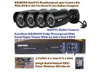 4 X 800TVL BULLET CCTV CAMERA IR-CUT DAY/NIGHT VISION CCTV + OWSOO 4 CH 1080 DVR HARD DRIVE OPTION