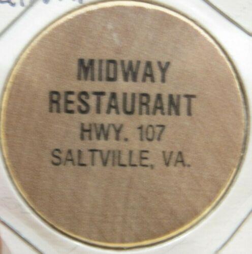Vintage Midway Restaurant Saltville, VA Wooden Nickel - Token Virginia