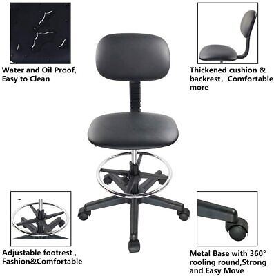 Leather Tall Drafting Chair Armless Office Task Footrest Ergonomic Foot Ring