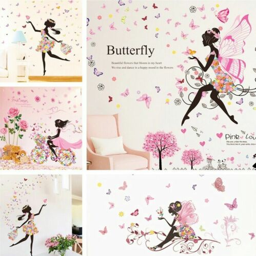 Home Decoration - Flower Girl Wall Stickers Removable Nursery Vinyl Decals DIY Decor Wall Mural UK