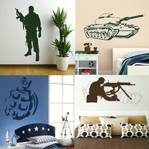 Army Wall Stickers Boys Military Bedroom Art Lads Room