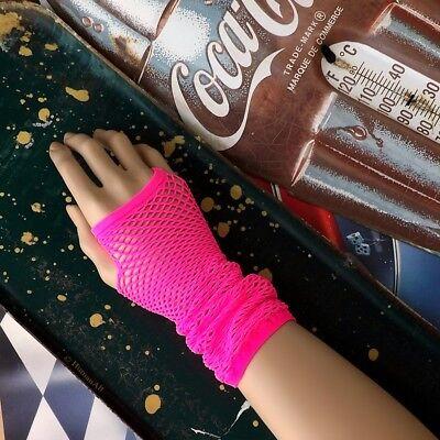 80er Jahre Fischnetz Handschuhe / Mini Rautennetz Fingerlose Handschuhe/Stulpen