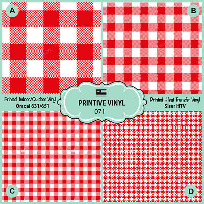 Red checkered Plaid table cloth Printed HTV, Oracal651, Siser, Craft Vinyl-  071 - Scrapbook Table