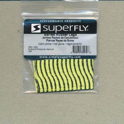 "Barred Rubber Legs yellow 8 /"" strings     BRL-1202 black"