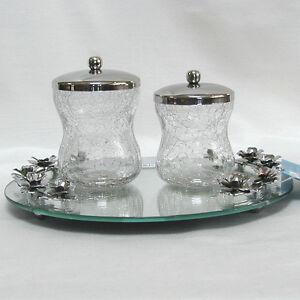 Vanity jar set tray crackle glass chrome bath accessory organization storage ebay - Bathroom accessories vanity tray ...