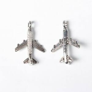 15 Aeroplane Airplane Plane Fly Antique Silver Charms Pendant 15mm x 22mm (363)