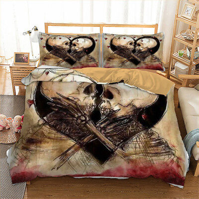 Full Duvet Quilt Cover (Skull Bedding Duvet Cover Set Twin Full Queen King Size Quilt Cover Face to)