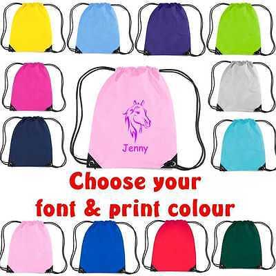 fb9369cdd8ca Horse Print Drawstring Bag Personalised Sack Gym PE Swim School Waterproof