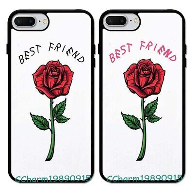 Best Friend Rose BFF Couple Rubber Phone Case For iPhone 8 XS Max&Samsung
