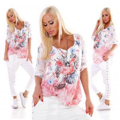 Italienische Damen Langarm (Buntes Damen 2in1 Langarm Shirt Oversize Bluse Print 36 38 Italy Mode coral)