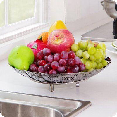 Folding Stainless Mesh Food Dish Vegetable Egg Fruit Steamer Basket Cook PoachbO