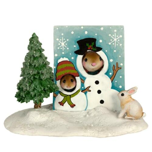 Wee Forest Folk SNOWMAN SMILES, WFF# M-397c, Winter Carnival Series Ice Mouse