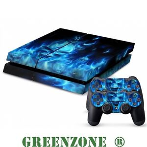 Blue-Skull-Vinyl-Decal-Sticker-Set-for-PS4-Console-and-2-Controller