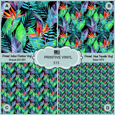 Watercolor tropical leaves Printed HTV, Oracal651, Siser, Craft vinyl- 515