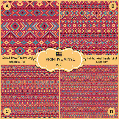 - Ethnic tribal background Pattern Printed HTV,Adhesive Vinyl- 192