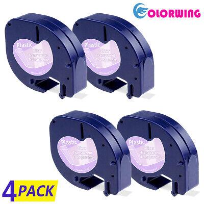 16952 4 Pk Letratag Refills Compatible Dymo Clear Label Tape Label Maker 12mm Lt