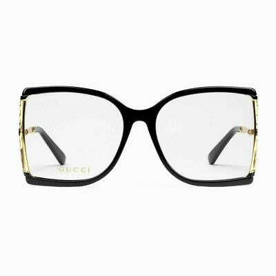 Gucci GG0592/S Black/Gold Metal and Acetate Square Eyeglasses %100 Authentic