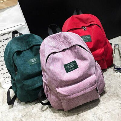Simple Corduroy Backpack Large Capacity Bag Unisex School Ba