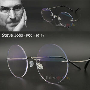 rimless steve jobs glasses round titanium mens eyewear apple radiation vintage. Black Bedroom Furniture Sets. Home Design Ideas