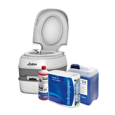 Enders Campingtoilette Comfort 2x Rinse Blue 2,5 L + Toilettenpapier Outdoor Set