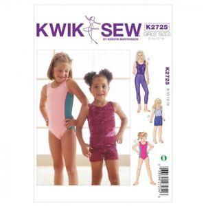 Kwik Sew Childrens Easy Sewing Pattern 2725 Dancewear Leotards, Leggings ...