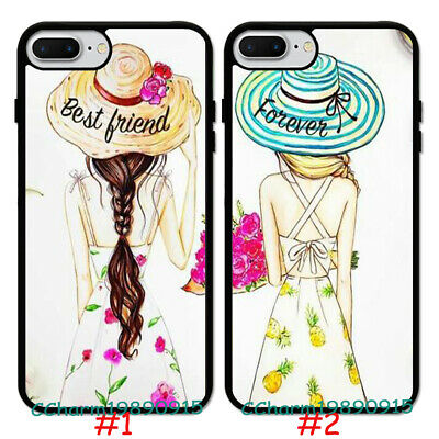 Cute Girl Best Friend Forever Rubber Case Cover For iPhone 8 XS&Samsung