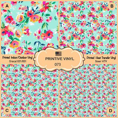 Painted Flowers Pattern Printed HTV, Oracal651, Siser, Craft Vinyl- 073 (Painted Flowers)