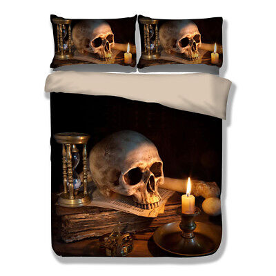 Skull Candle Duvet Cover Bedding Set Queen King Quilt Cover Pillow Case HD Print](Candle Character)