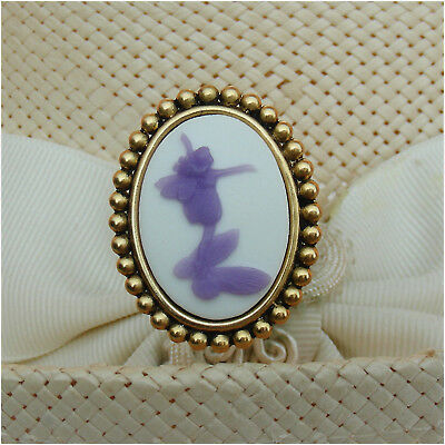 HATPIN WITH PURPLE FAIRY CAMEO ON ANTIQUE BRASS FINISH  Cameo Brass Finish